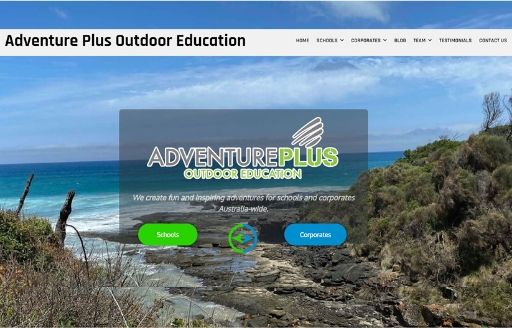 Adventure Plus website homepage preview